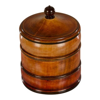 Hand Made English Circular Box with Ebony Finial on Lid