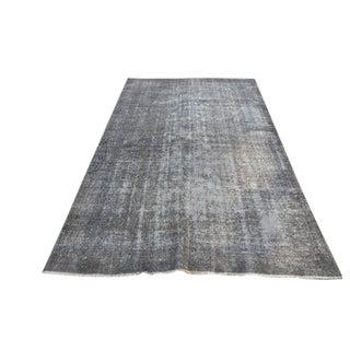 Turkish Gray Overdyed Antique Handwoven Oushak Carpet - 5′4″ × 8′8″