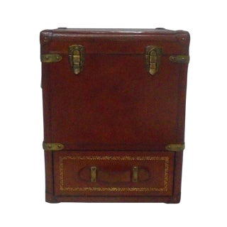 Leather Storage Trunk with Drawers