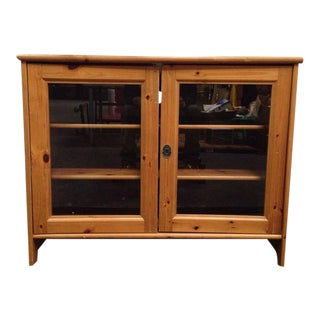 Vintage Style Carved Pine and Glass Two-Door Sideboard