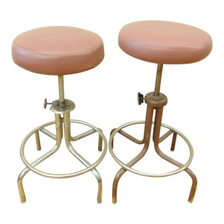 Industrial Adjustable Drafting Stools - A Pair