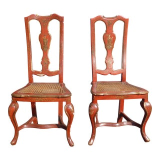 Vintage French Chinoiserie Hand Painted Red Accent Chairs- A Pair