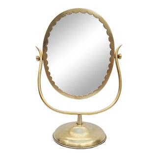 Gio Ponti Style Italian Solid Brass Vanity Mirror.