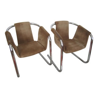 Vintage Modern Chrome and Suede Sling Arm Cantilever Chairs - A Pair