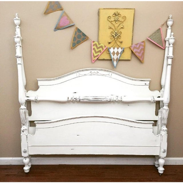 Image of Vintage Full Size Four-Poster Bed & Side Rails