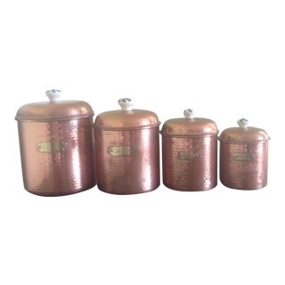 Vintage Copper & Brass Canisters - Set of 4