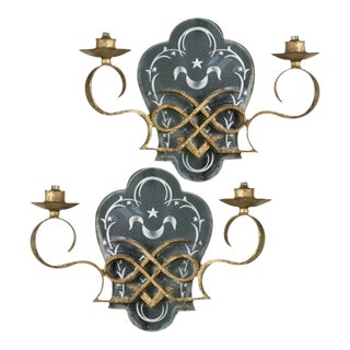 1920s Antique Two Light Gilded Iron Mirrored Sconces - a Pair