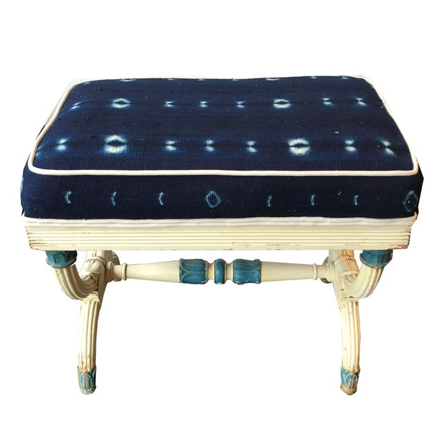 Antique French Bench Upholstered In Indigo Fabric - Image 1 of 2