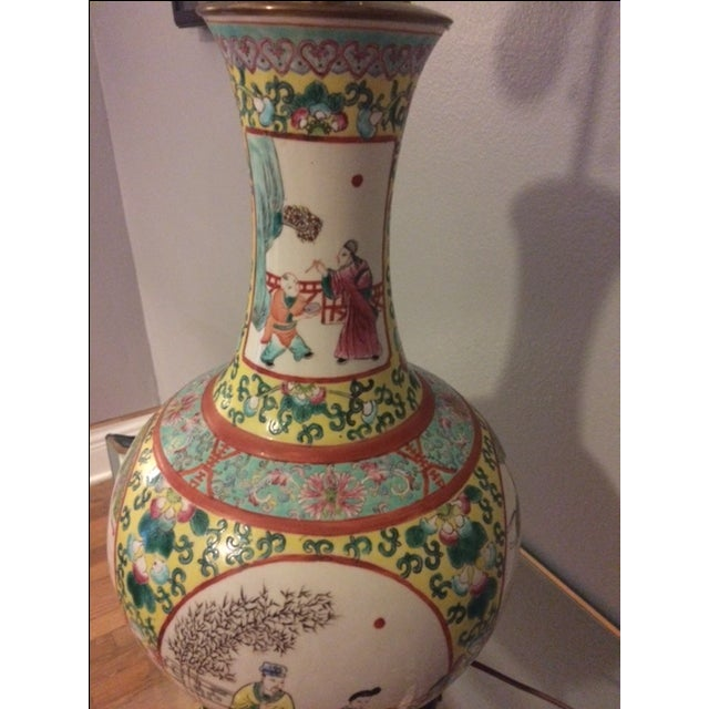 Image of Vintage Chinoiserie Hand-Painted Table Lamp