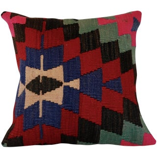 Vintage 15'' Square Handmade Bohemian Kilim Pillow