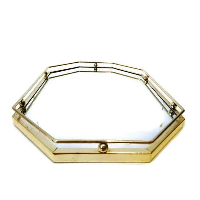 Image of Vintage Brass Mirror Tray Regency Glam Display