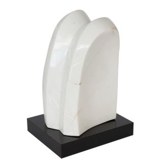 White Marble Abstract Sculpture on Black Lucite