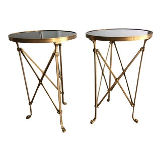 Granite & Brass Directoire Gueridon Tables - A Pair