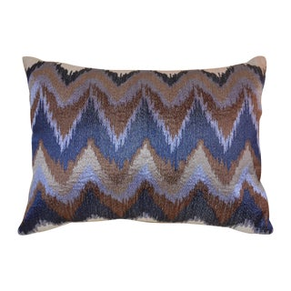 Small Indigo Chevron Embroidered Pillow