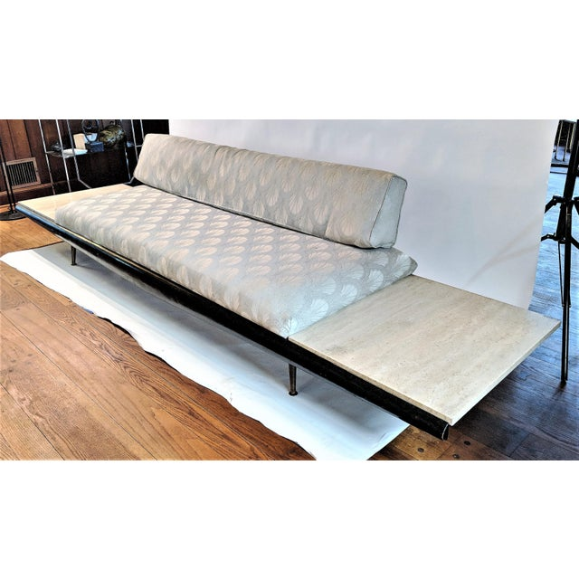 Pearsall Sofa & Attached Travertine End Tables - Image 2 of 10