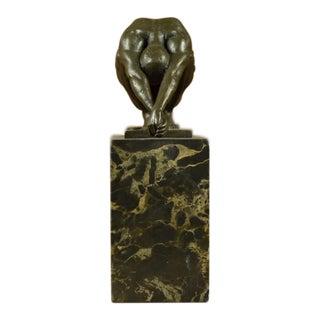 Nude Male Bronze & Marble Sculpture