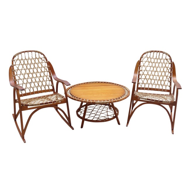 Vintage SnoCraft Snowshoe Rocking Chairs And Table