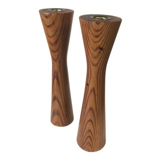 Danish Teak Candle Holders - A Pair