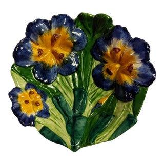 Vintage Italian Hand Painted Iris Bowl
