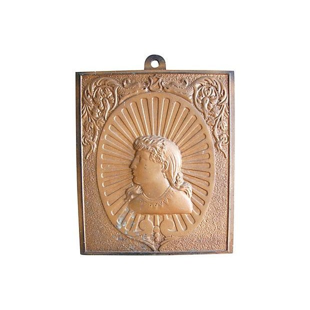 Image of Antique French Iron Relief Plaque of Lady