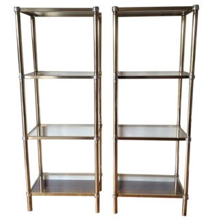 Brass-Plated Etageres - Pair