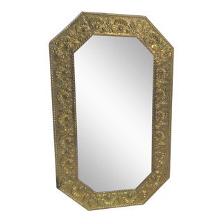 Shell & Rope Embossed Brass Mirror