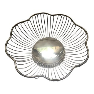 Mid-Century Modern Silver Wire Bread Bowl