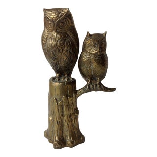 Vintage Brass Owls on Tree Sculpture