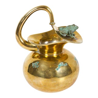 Los Castillo Malachite & Brass Frog Pitcher