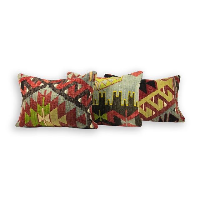 Image of Matching Lumbar Kilim Pillows - Set of 3