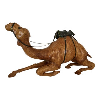 Hand Carved Wood & Leather Camel Figurine