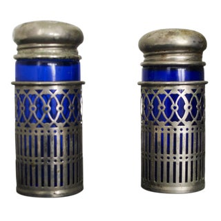 Glass Salt and Pepper Shakers, Metal Detail - Pair