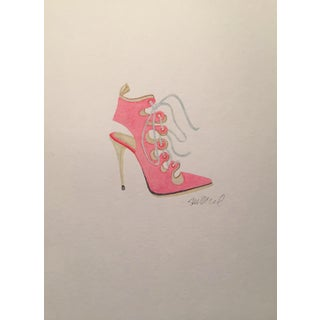 Contemporary Pink High-Heeled Lace Up Watercolor Painting