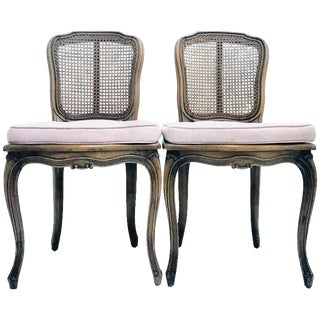 French Style Carved Wood & Cane Chairs - A Pair