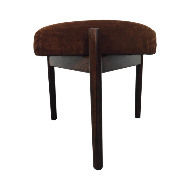 Danish Suede and Rosewood Stool - Image 1 of 6