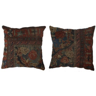 Antique Persian Rug Covered Pillows - A Pair