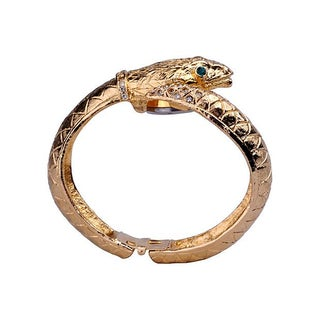 Gold Snake Clamper Bracelet Wristwatch