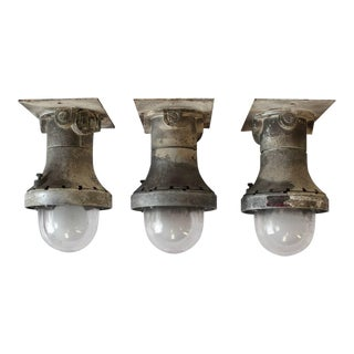 1930s Explosion Proof Industrial Flush Mount/Wall Sconces, Three Available