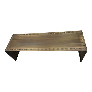 Vintage Brass & Riveted Low Bench