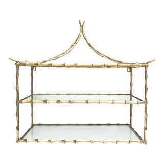 Vintage Pagoda Brass Faux Bamboo Hanging Shelf