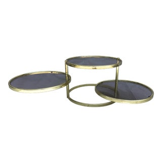 Brass & Smoked Glass Swivel Side Table - Baughman Style