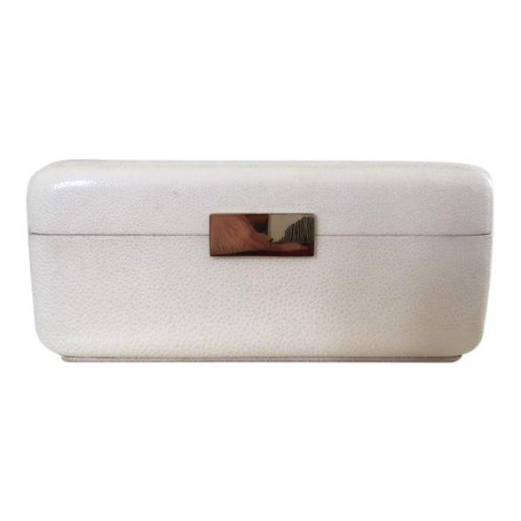 Image of Cream Shagreen Jewelry Box