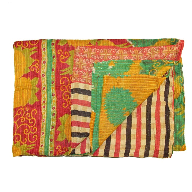 Vintage Red & Yellow Turkish Kantha Quilt - Image 1 of 3