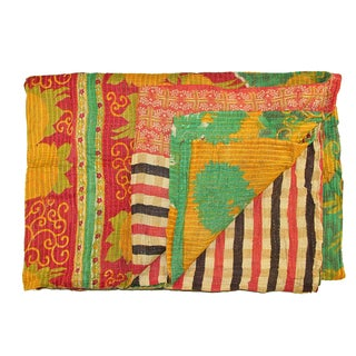 Vintage Red & Yellow Turkish Kantha Quilt