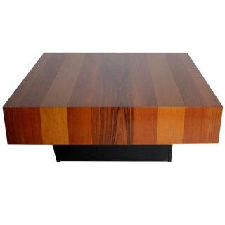 Danish Modern Mixed Wood Square Coffee Table