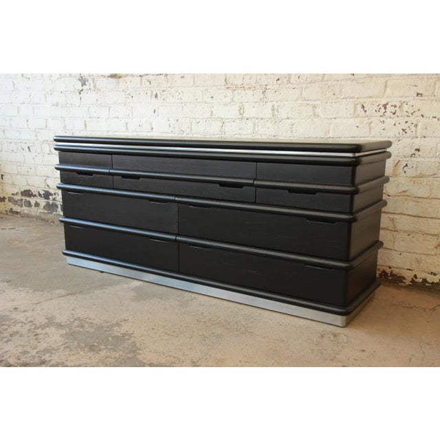 Vintage Jay Spectre for Century Furniture Cerused Oak & Chrome Dresser - Image 2 of 11