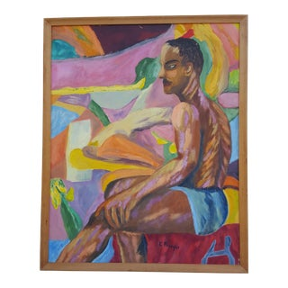 "1963 ""E. Preso"" Nude Sitting Man Oil Painting."