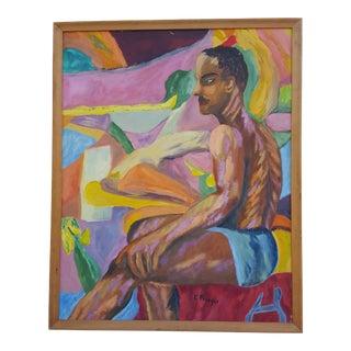 "1963 ""E. Preso"" Nude Sitting Man Oil Painting."