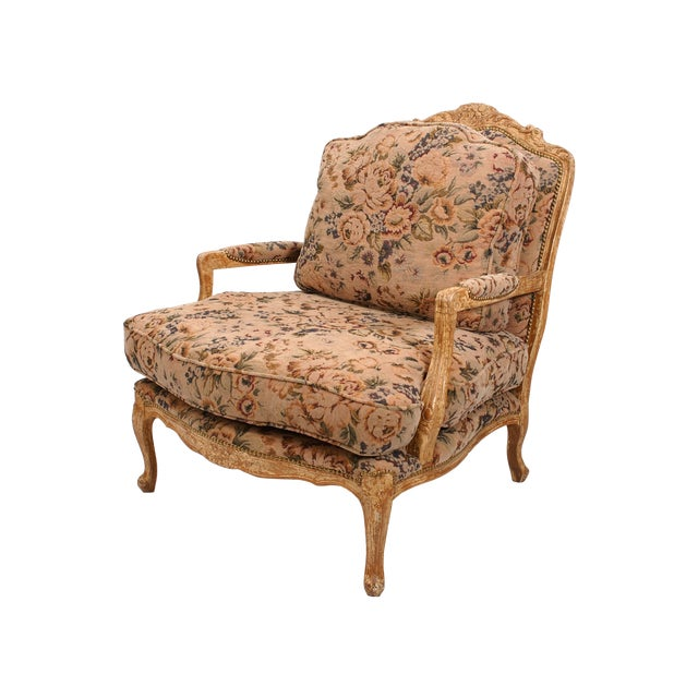 Large Floral Fauteuil Chair - Image 1 of 4