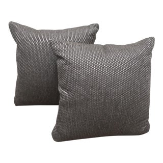 Gray Basket Weave Pillows - A Pair